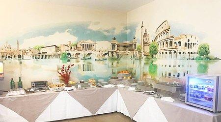 Restaurant oasis breakfast ele green park hotel pamphili rome, italy